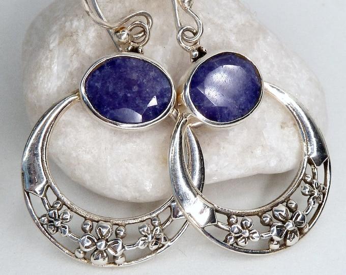 Drop Gemstone Earrings Indian SAPPHIRE SilverSari Full Moon Garland YEG1260
