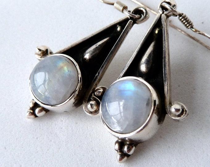 MOONSTONE Vintage Chandelier SilverSari Earrings Solid 925 Stg Silver YEG1336