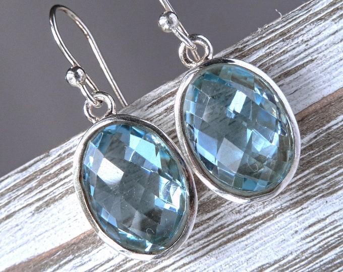 BLUE TOPAZ Earrings Solid Silver SilverSari YEG1341