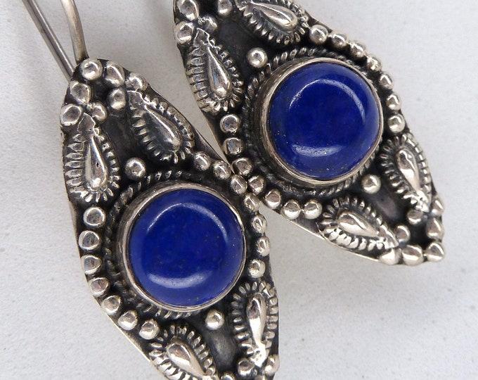 LAPIS LAZULI 'Eyes' ~ Solid Silver Hook Earrings SilverSari YEG1347