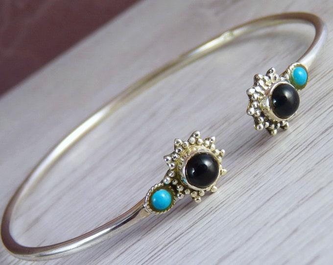 ONYX, TURQUOISE + Solid Silver Cuff Bangle Bracelet SilverSari YBG1054
