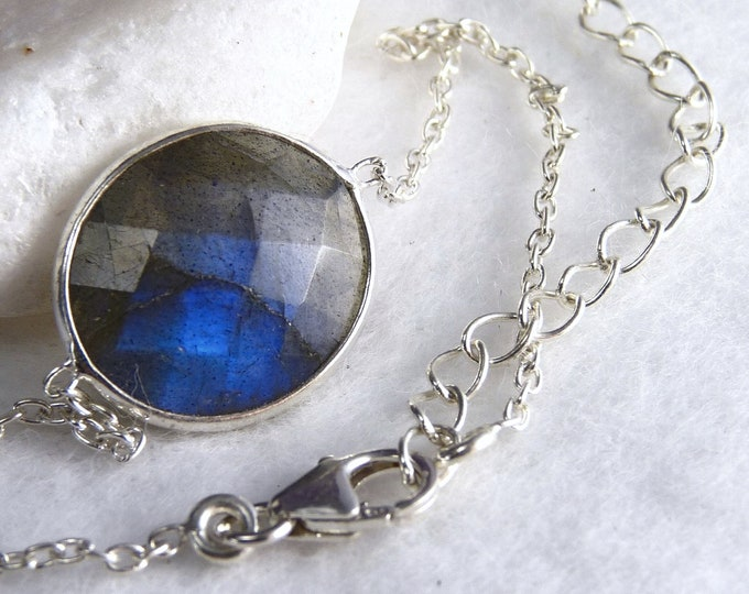 LABRADORITE + Solid Silver Linked Bracelet SilverSari YBG1087