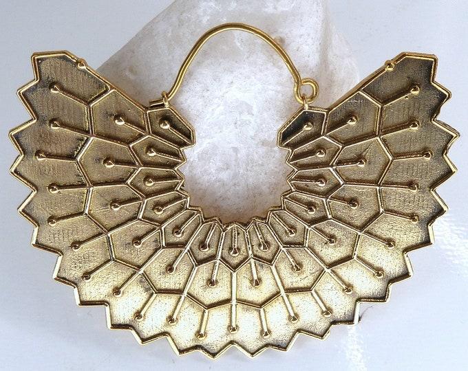 Solid LOTUS Leaf Creole Hoops Brass (Lge) SilverSari YEB1007