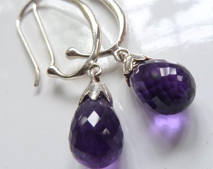 AMETHYST GEM DROP Open Hook SilverSari Earrings Solid 925 Stg Silver YEG1116
