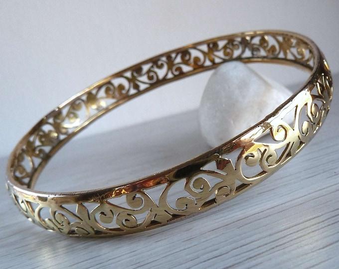 BRASS Jali Paisley Bangle Bracelet SilverSari YBB1003