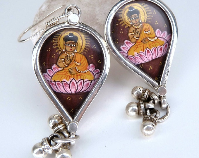BUDDHA ~ Rajasthani Miniature Painting Sterling Silver Earrings SilverSari YEG1286