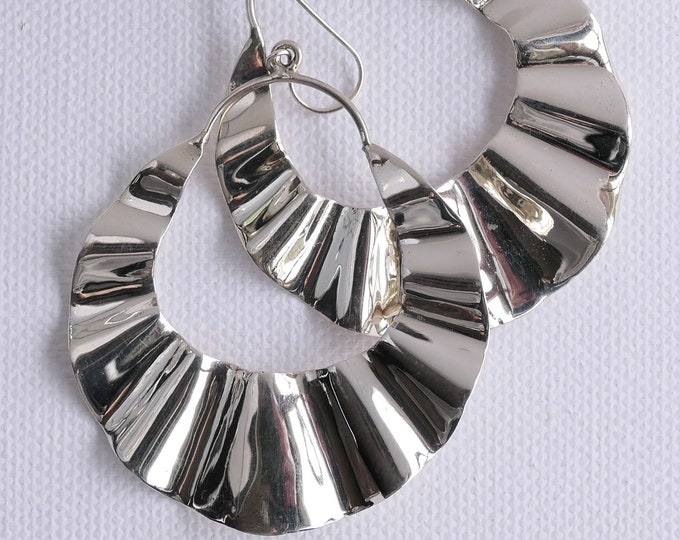 Sterling Silver Earrings ~ Large & Heavy Solid Silver 'Corrugated Half Moon' SilverSari YES1260