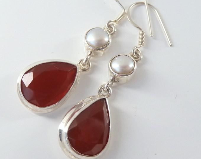 CARNELIAN + PEARL 2-Gem Hook Silver Earrings SilverSari ~ YEG1272