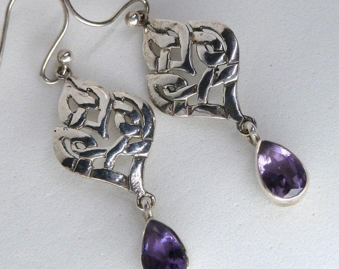 AMETHYST Celtic Knot Earrings Solid Silver SilverSari YEG1338