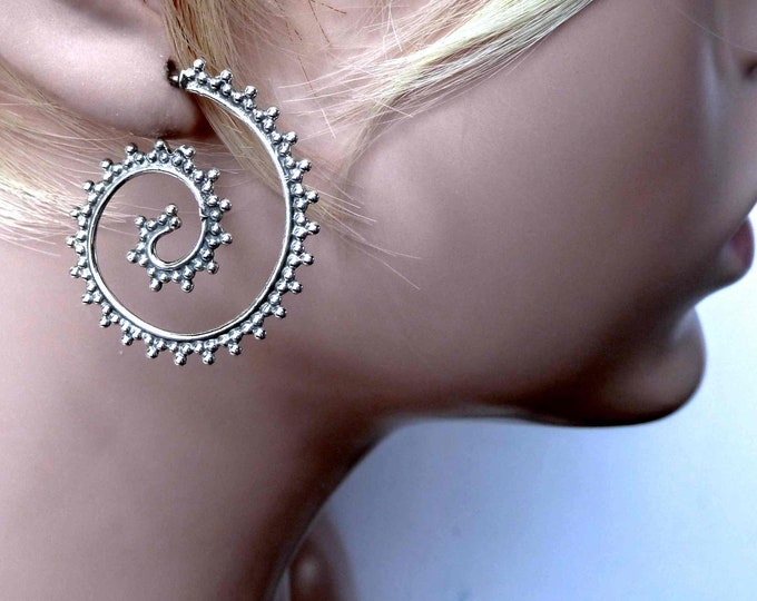 Granulated SPIRAL Stud Hoop Earrings Solid Silver SilverSari YES1063