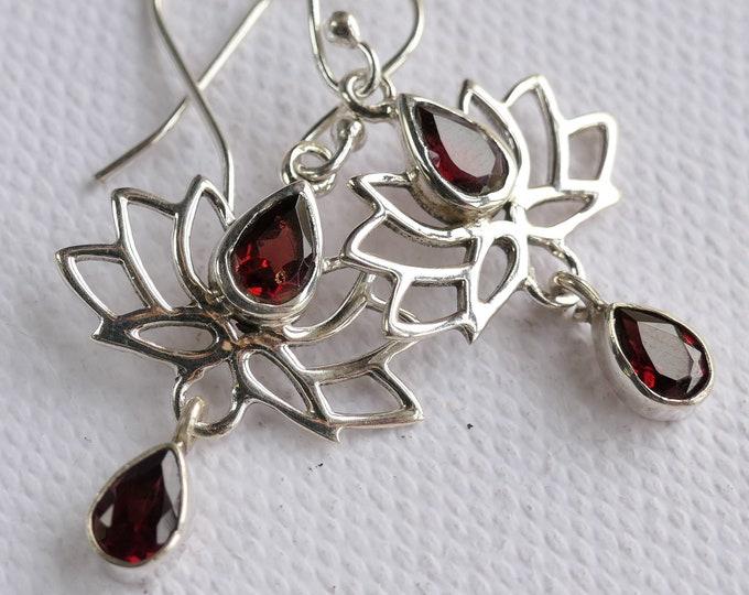 GARNET Earrings Stg Silver Jali LOTUS Flower SilverSari YEG1002B