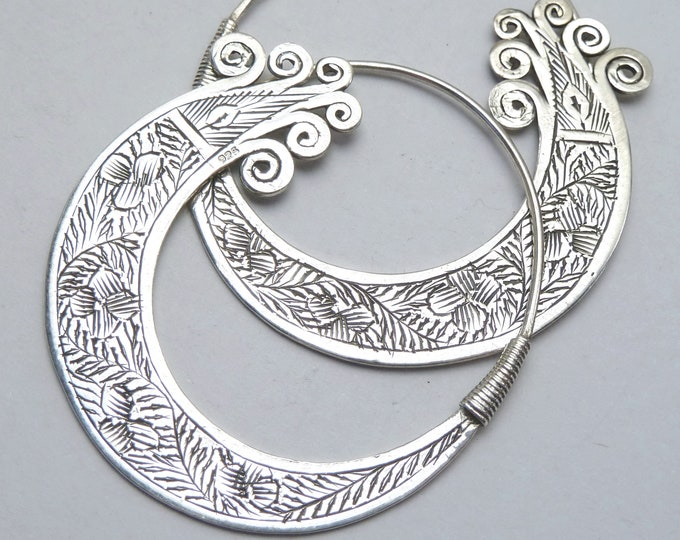 Carved TRIBAL Open Hoops (L) Solid Stg Silver Earrings Creoles ~ YES1005