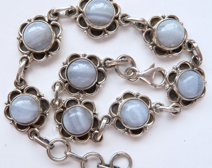 LACE AGATE + Solid Silver Linked Bracelet SilverSari YBS1076
