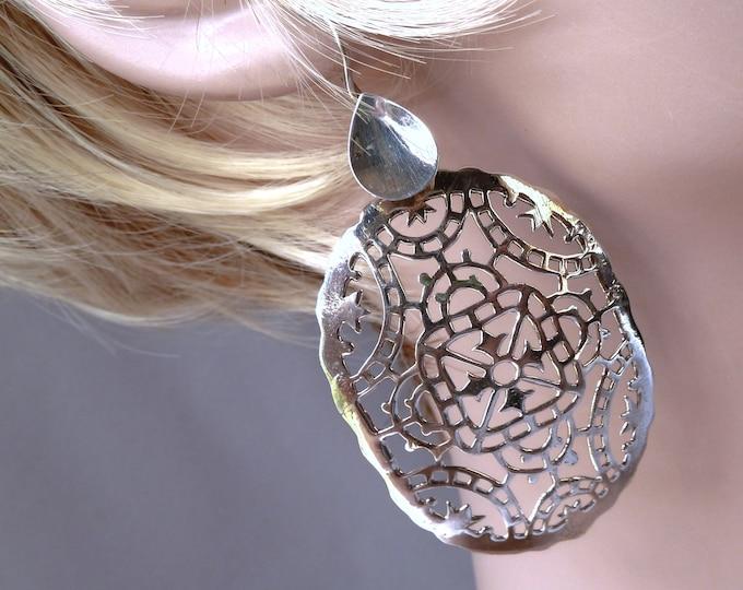 Sterling Silver XLARGE JALI Oval Drop SilverSari Earrings ~ YES1270
