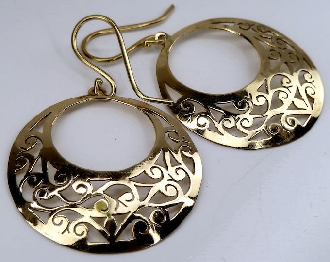 BRASS ~ Full Moon Jali Drop Earrings SilverSari YEB1006