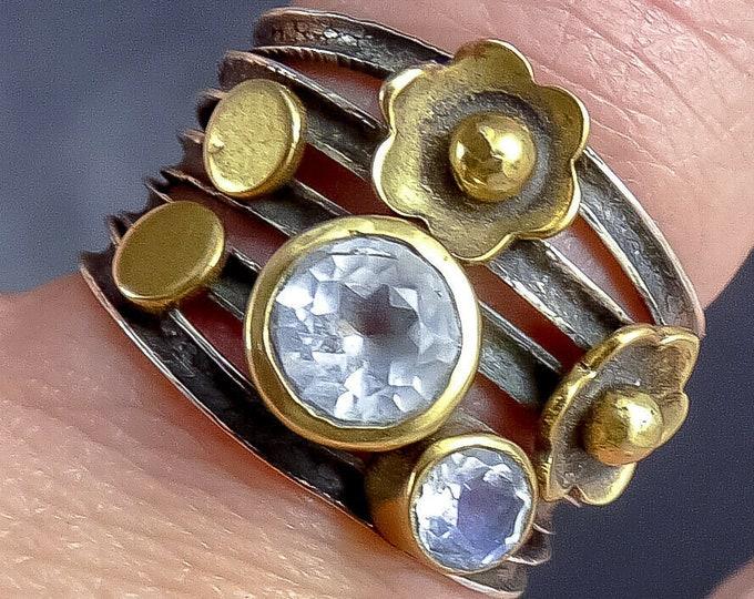 MOONSTONE Ribbon Braid Gem Ring (US 5 1/2) Solid Silver SilverSari YSAR1090