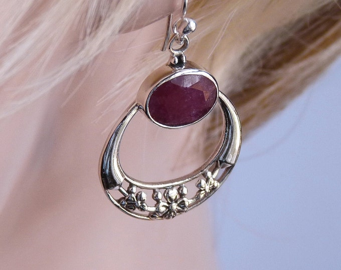 Drop Gemstone Earrings Indian RUBY SilverSari Full Moon Garland YEG1260