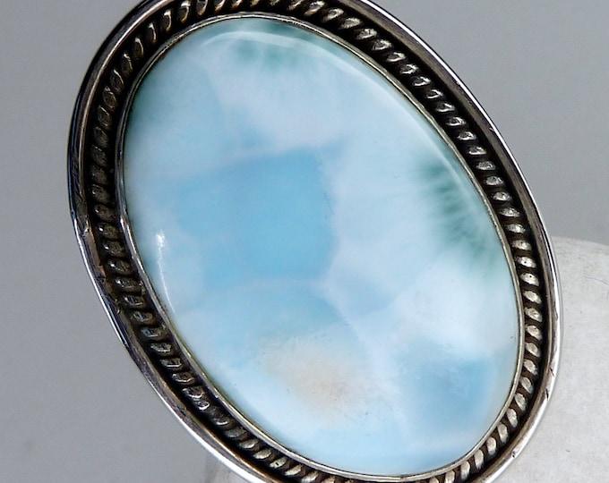 Large LARIMAR Statement Ring (Adjustable) Solid Silver SilverSari YGR1205