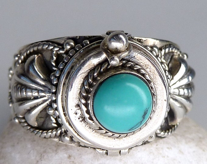 TURQUOISE Poison/Pill Box Ring Solid Silver (US 8 1/4) SilverSari YGR1207