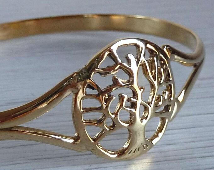 TREE of LIFE Cuff Medallion Brass Bangle Bracelet SilverSari YBB1001