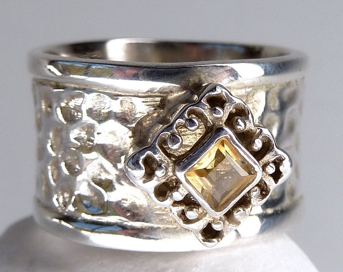 CITRINE Heavy Hammered Buckle Ring (US 5 3/4) Solid Silver SilverSari YGR1057