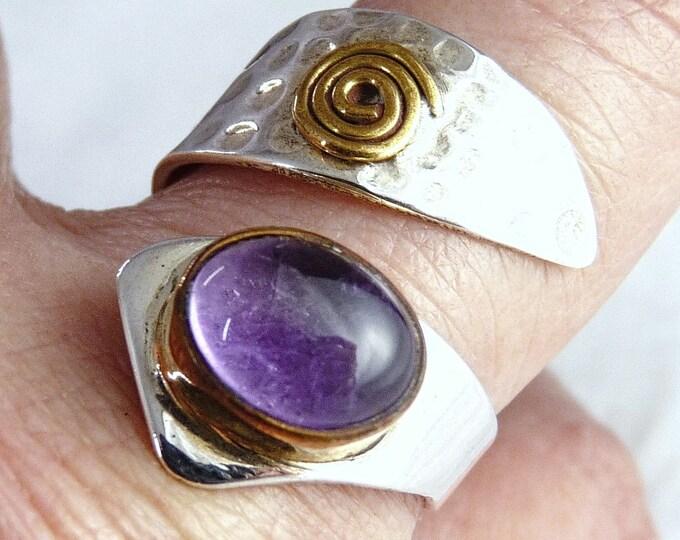 AMETHYST Wrap Solid Silver Ring (US 7-9) SilverSari YGR1135