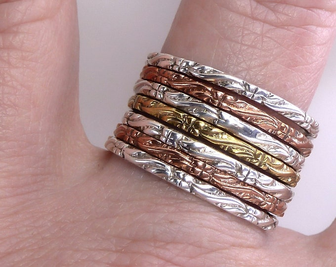 7-Stack 3-Tone Relief Hoops Solid Silver, Brass, Copper SilverSari YSTR1023