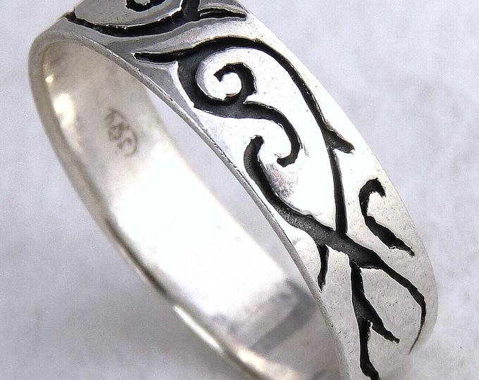 FLOURISH SWIRL Celtic Tribal Ring Solid 925 Silver SilverSari YSAR1018
