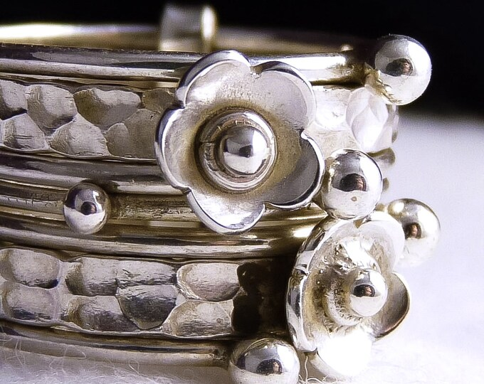 DAISY 7-STACK Nest Stacking Ring Solid Stg Silver SilverSari YSTR1007