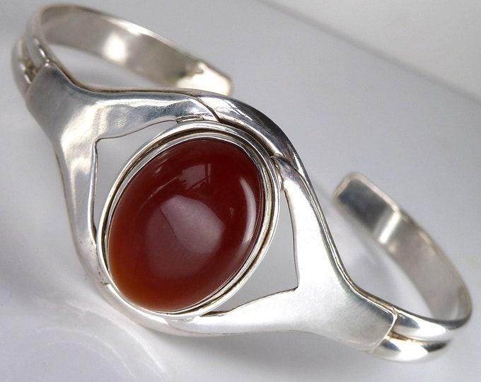 CARNELIAN + Sterling Silver Cuff Bangle Bracelet SilverSari YBG1080