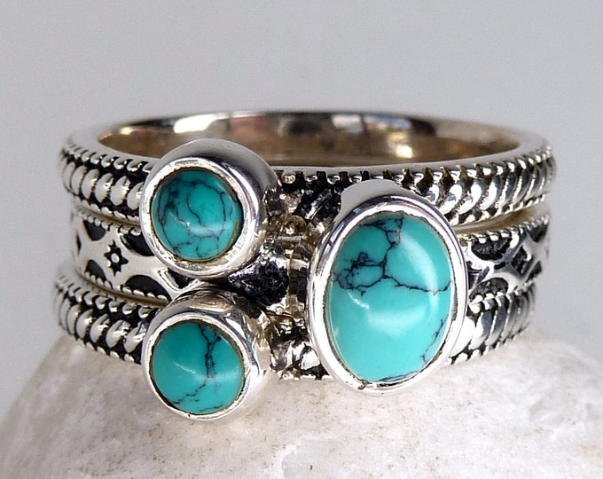 TURQUOISE 3-Stack Solid Silver Rings (US 8) SilverSari YSTR1021