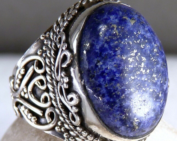 LAPIS LAZULI Statement Ring (US 6) Solid Silver SilverSari YGR1134