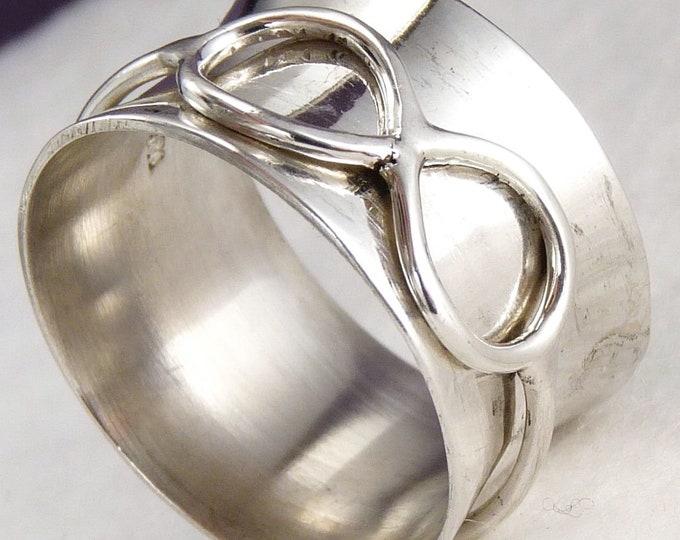 INFINITY SILVER ~ Unisex Spinner US 7 3/4 SilverSari Ring Fidget Meditation Anxiety Spinning Solid 925 Sterling Silver YSPR1009