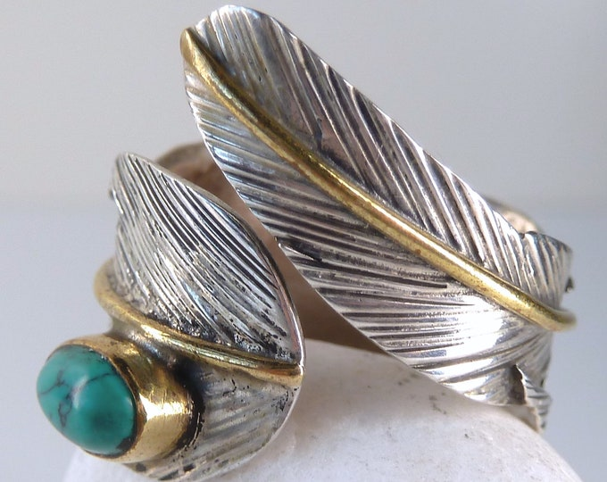 TURQUOISE FEATHER Wrap Solid Silver + Brass Ring (US 6-8) SilverSari YSAR1087