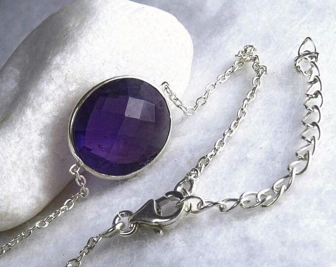AMETHYST + Solid Silver Linked Bracelet SilverSari YBG1087