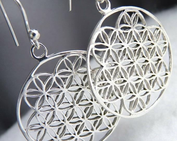 FLOWER OF LIFE SilverSari Jali Drop Earrings Solid 925 Silver YES1017