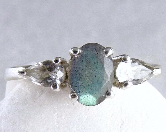 LABRADORITE + TOPAZ Triple Gem Ring Solid Silver SilverSari YGR1075