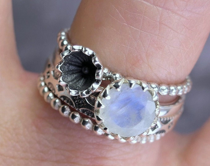 MOONSTONE Poppy Stacking Ring Stg Silver SilverSari YSTR1012
