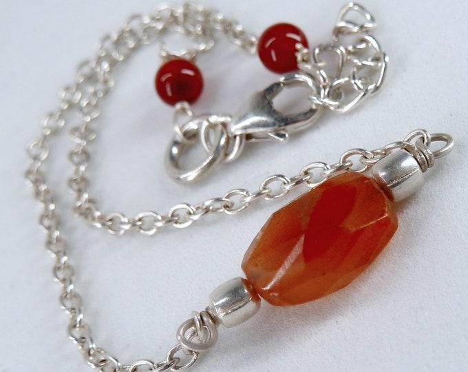 CARNELIAN Bead + Solid Silver Linked Bracelet SilverSari YBG1093