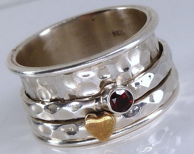 GARNET Hammered 'Love of Life' Spinner Ring Solid Silver (US 8.25) SilverSari YSPR1087