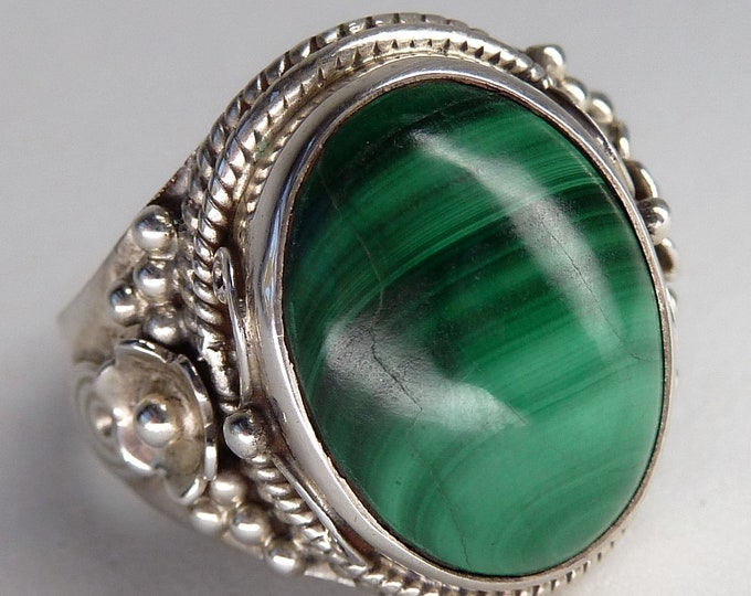 MALACHITE Filigree Lace Vintage SilverSari Ring (US 9.5) Solid Silver YGR1206
