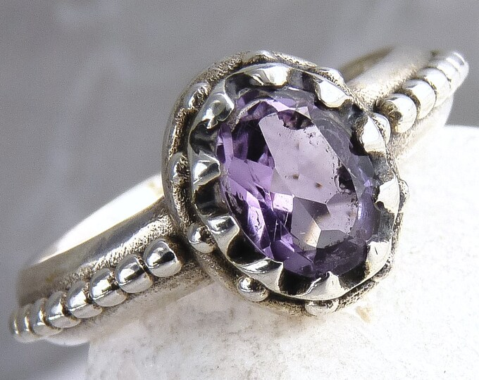 AMETHYST Granulation Feature Gem Ring Solid Silver SilverSari YGR1066
