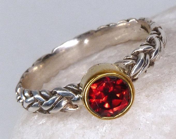 GARNET Braided Solid Silver Ring (US 6 3/4) SilverSari YGR1137