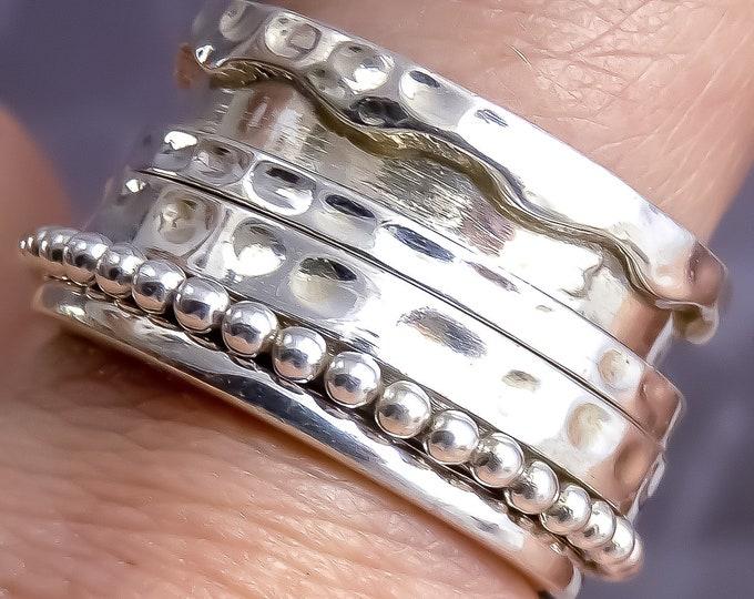 Recessed GRANULE HOOP Spinner Fidget Ring 925 Stg Silver SilverSari YSPR1088
