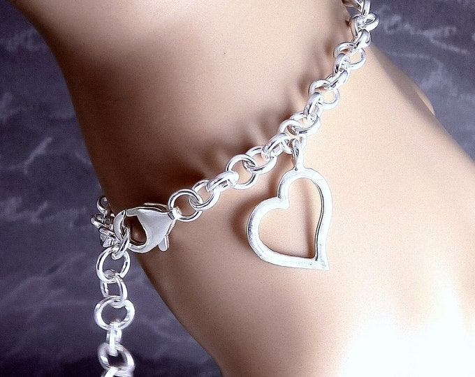 THINKING OF YOU Solid Silver Charm Chain Bracelet SilverSari YBG1082