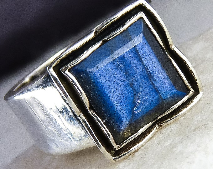 LABRADORITE Vintage Buckle Gem Ring Cast (US 9) Solid Silver SilverSari YGR1076