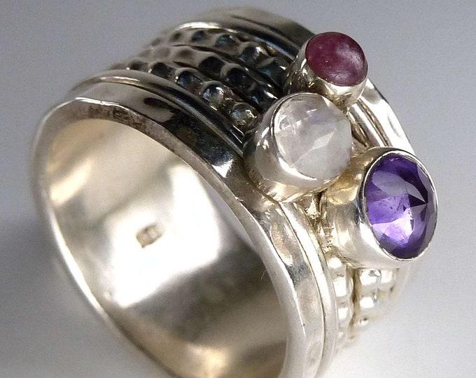 Multigem SPINNER 3-Spin Fidget Ring (US 5.75) Solid Silver SILVERSARI YSPR1066