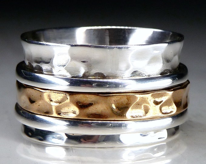 Classical 2-Tone 2-Spin Spinner Ring Solid Silver + Brass SilverSari YSPR1100