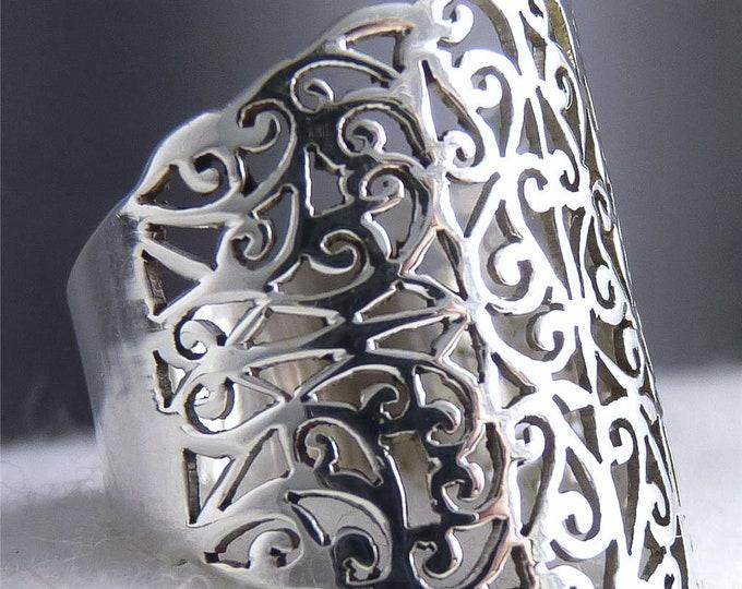 Wide JALI Band SilverSari Art Thumb Finger Ring Solid 925 Stg Silver YSAR1023