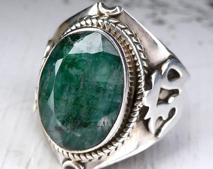 Indian EMERALD + OM ॐ Gem Ring (US 7) Solid Silver SilverSari YGR1416